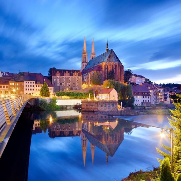 Görlitz: Church of St Peter and Paul with Neissebrücke bridge, ID: 14924