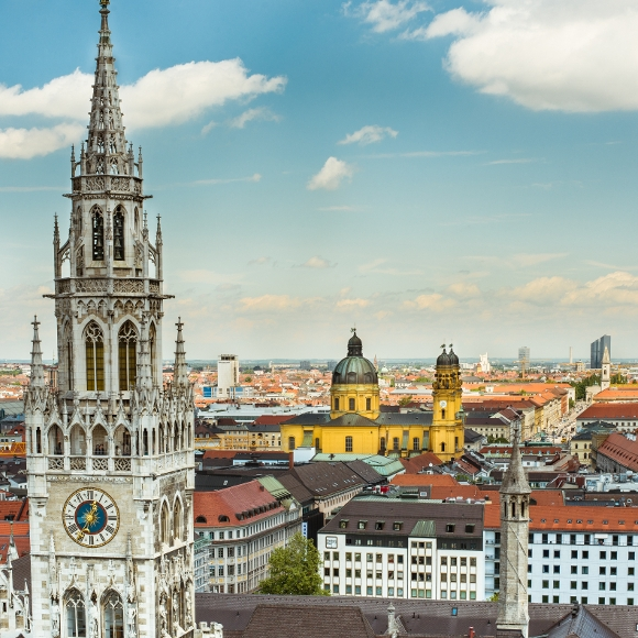 Munich: town hall tower, Theatinerkirche church
