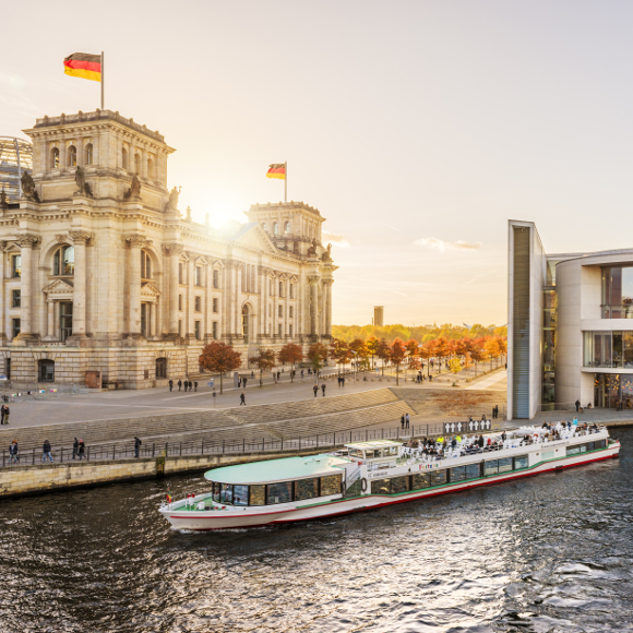Berlin: Government district, River Spree, Reichstag, Paul-Löbe-Haus, center