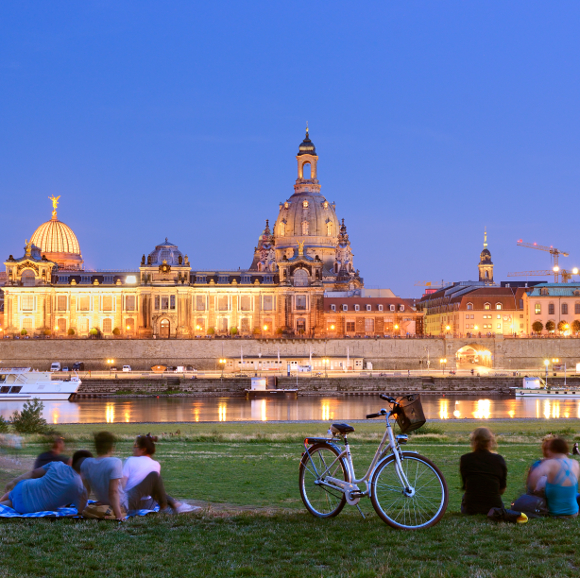 Dresden: Frauenkirche and banks of the river Elbe