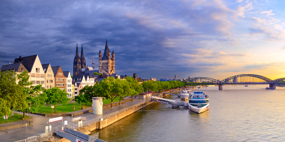 Cologne: view towards the city center with cathedral