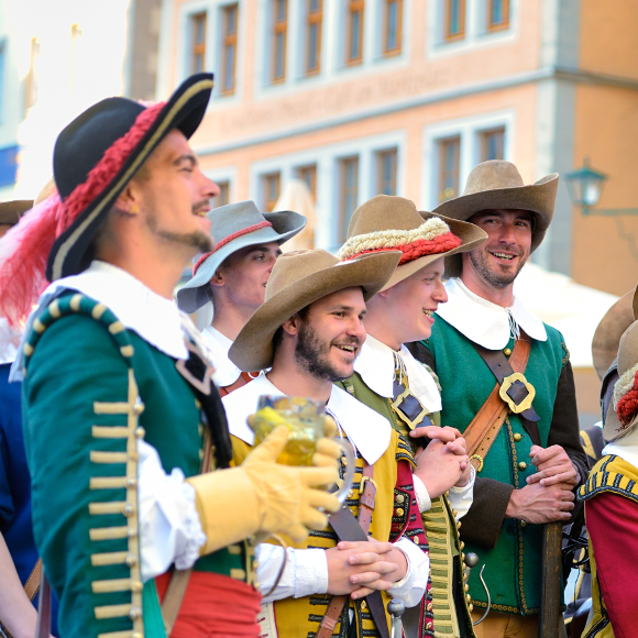 Rothenburg ob der Tauber: traditional music group on the market square