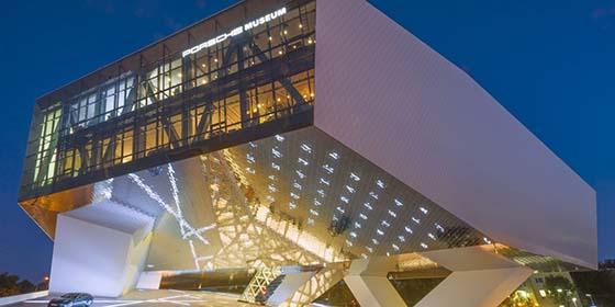 Stuttgart: Porsche Museum by Delugan Meissl Associated Architects, evening