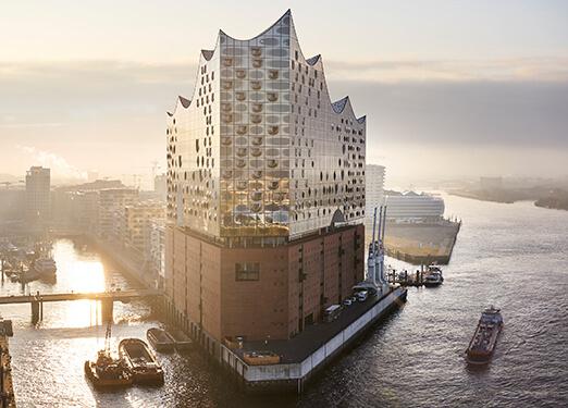Hamburg: Aerial view Elbphilharmonie Concert Hall at sunrise