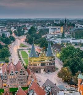 Lübeck: Holsten Gate, sunset
