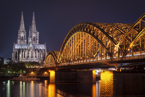 UNESCO World Heritage Cologne Cathedral during Blue Hour, Hohenzollern Bridge over the Rhine