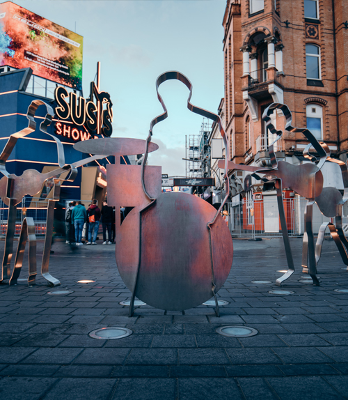 Hamburg: Beatles sculptures on Beatles-Platz